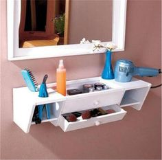 READY TO HANG WOODEN BATHROOM STORAGE ORGANIZER VANITY WALL SHELF-3 FINISHES