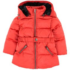 Waterproof nylon on the outside Quilted padding False fur lining Super soft Pleasant to wear Warm item Perfect to protect from the cold Waterproof item Detachable hood Long sleeves Side pockets Zip pockets Detachable belt Elasticated belt Padded effect - $ 80.50