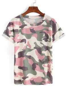 Ladies Women Colortone 100/% Cotton Army Camo Camouflage T Shirt Top