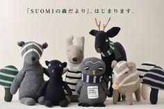 I just love these wintery stuffed animals by Miyako Kanamori!