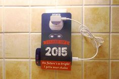 Cell Phone Holder Wall Socket NOTON CLASS OF 2015 by econdesign #NotOn Cell Phone Holder, Landline Phone, Gadgets, Unique Jewelry, Handmade Gifts, Wall, Etsy, Kid Craft Gifts, Craft Gifts