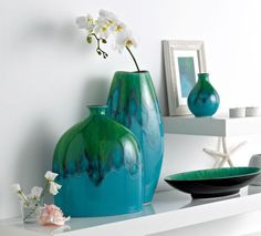 The Studio of Tableware Poole Pottery Tallulah A gorgeous addition to my kitchen/dining matching artwork and room colours Room Colors, Colours, Pottery Vase, Bud Vases, Kitchen Dining, Studio, Tableware, Artwork, Flower Vases