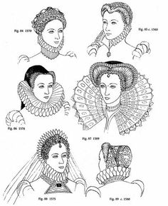 Different hair and bonnet styles in Elizabethan time period.  www.fashion-era.com Jessica Grant