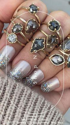 Grey Diamond Ring, Antique Diamond Rings, Uncut Diamond, Diamond Wedding Bands, Diamond Shapes, Diamond Cuts, Cushion Cut Diamonds, Salt And Pepper Diamond, Art Deco Diamond