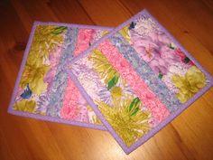Mug Rug Shabby Chic Purple Yellow Mums Handmade by TahoeQuilts