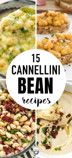 What to do with canned cannellini beans? Here youll find 15 of the best cannellini bean recipes ever. From creamy cannellini soups to bean salads bruschetta bean pasta bean dip and more! Healthy cheap and easy dinner recipes perfect for the whole family! Vegetarian Bean Recipes, White Bean Recipes, Healthy Soup Recipes, Canned Vegetable Recipes, Easy Bean Recipes, Beans Recipes, Healthy Food, Healthy Eating, Daniel Fast