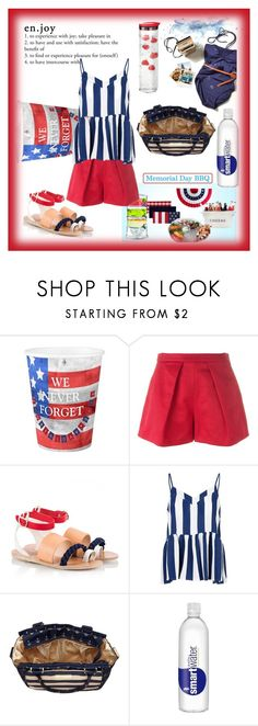 """""""Happy Memorial Day!!  #shorts #sandals #redwhiteblue #BBQready"""" by fashionlibra84 ❤ liked on Polyvore featuring MSGM, Ancient Greek Sandals, Glamorous and Ju Ju Be"""