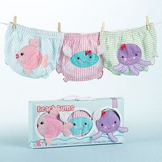"""Beach Bums"" Set of 3 Bloomers (0-6 Months and 6-12 Months)"