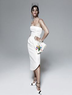 """Julia Restoin-Roitfeld in Dior (Look twill skirt & bustier w/ printed art by Warhol """"Female Head"""" paired w/ Dior pumps and jewelry by Eddie Borgo. Julia Restoin Roitfeld, Carine Roitfeld, Fashion Photography Inspiration, Love Photography, Female Head, Miss Dior, Fashion Shoot, Style Icons, Strapless Dress"""