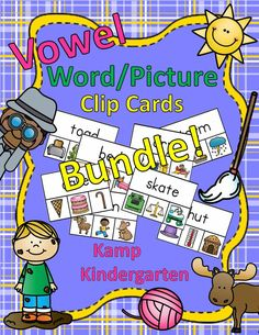 Engaging Literacy Centers for Your Little Learners!  These cards may be used alone or to supplement any phonics program.  $   #phonics  #literacycenters  #ELA  #vowels   #KampKindergarten   https://www.teacherspayteachers.com/Product/Vowel-WordPicture-Clip-Cards-Bundle-2266836