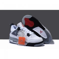 Newest Air Jordan 4 IV Women Shoes White/Grey/Black 1006 http:/