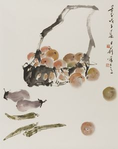 Leslie Goh, Tomato, Eggplant and Okra still life, Chinese ink amd pigments on rice paper
