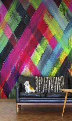 Neon Light (P162901-4) - Mr Perswall Wallpapers - A vivid neon coloured painting in diagonal stripes, printed as a photographic image. Total mural size 180cm wide x 265cm high.  Paste-the-wall product.