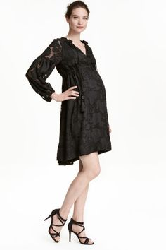 MAMA Patterned dress: Long-sleeved dress in an airy weave with a jacquard-weave…