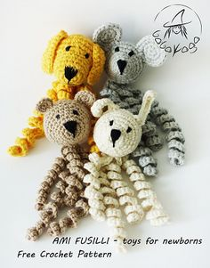 Dog, Mouse, Bear, Bunny - Toys For Newborn pattern by Celina Bagińska Copyright 2016 Author Celina Bagińska. This pattern it's for free and may not be used commercial Preemie Crochet, Crochet Baby Toys, Newborn Crochet, Crochet For Kids, Crochet Dolls, Baby Knitting, Crochet Bunny, Octopus Crochet Pattern Free, Crochet Octopus