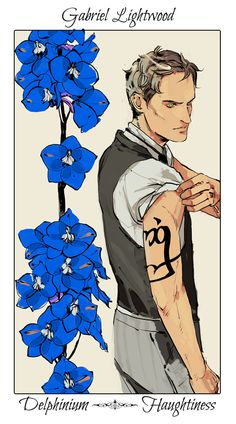 Gabriel Lightwood - Delphinium (Haughtiness): Cassandra Jean: Shadowhunter Flowers Series: *Character belongs to Author Cassandra Clare and her Infernal Devices trilogy