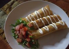 Chorizo & Potato Flautas  Love Chef Marcela Valladolid!! Her Mexican recipes are authentic & easy. She does not use yellow cheese!! When you see yellow cheese on a so called mexican plate, for sure not authentic.. :)