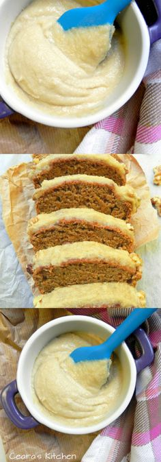Shut the front door! This Healthy Vegan Carrot Cake w/ Cinnamon Cream Cheese Icing is soft, moist + delicious! It is the ONLY Carrot Cake recipe you will ever need! Vegan Treats, Vegan Foods, Vegan Recipes, Cooking Recipes, Kitchen Recipes, Healthy Cooking, Healthy Foods, Cake Vegan, Vegan Carrot Cakes