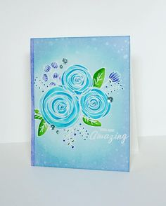 SSS Sketch Ranunculus; blue; stunning; amazing; DIB and watercolor