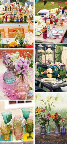colored glass wedding tables + flowers = soooooo pretty!