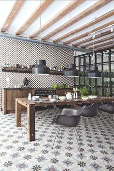 For a truly individual look, consider mixing and matching decorative tiles to create a patchwork of pattern. These Retro tiles by Surface Tiles come in nine different designs and have a weathered-look finish.
