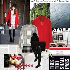 """""""Street Style:The Red Coat"""" by rainie-minnie on Polyvore"""