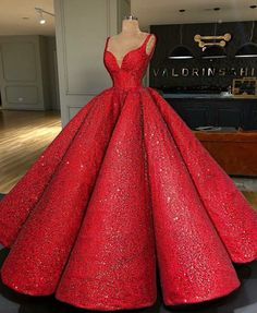 Ball Gown Sweep Train Red Sequin Prom Dress P2405