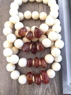 Set of 4 Bone Bead Carnelian Micro Pave Bracelet, Cream Deep Red Gold Crystal Jewelry, Natural Tribal Stretch Gemstone,Love Protection Gift by Elegantzia on Etsy