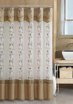 VCNY Beige Fabric Shower Curtain: 2 Layered, Embroidered, Attached Valance