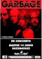 Cartel del concierto de GARBAGE en Barcelona, en Junio de 2005