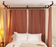 Pictures of the Curtain Hung to Ceiling | Hang long curtain panels around bed - SHOW MALCOLM - black hardware (heavier hardware than in other photos) hanging from ceiling