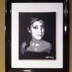 """Amanda"" Custom hand painted 12""x16"" black & white acrylic portrait of my daughter on stretched canvas. www.ArtbyLatiolais.com"