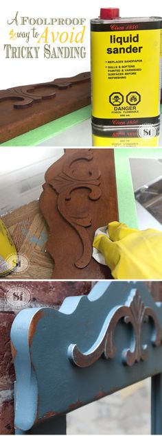 FoolProof Way to Avoid Tricky Sanding Painted Furniture Tip ~ I wish I had tried this deglosser a year ago! Use a Liquid Sandpaper instead of sanding. No dust and it's super helpful in tight tricky areas. Furniture Repair, Old Furniture, Refurbished Furniture, Paint Furniture, Repurposed Furniture, Furniture Projects, Furniture Makeover, Wood Projects, Sanding Furniture