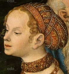 Detail from Salome with the head of St John the Baptist at Herodes table. 1537. Lucas Cranach the Younger. Staatliche Kunstsammlungen Dresden.