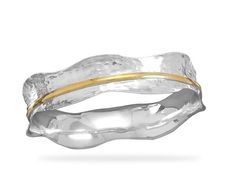 Two Tone Hammered BANGLE BRACELET by ZukovaBoutique on Etsy, $197.10