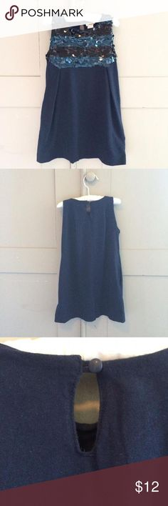 J Crew Blue Sparkle Dress Pretty deep blue jersey dress with elegant stripes in hanging sequence. Side pockets and single button back closure. Very comfortable but could be worn dressed up with fancy shoes. So cute! Crewcuts Dresses