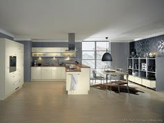 Kitchen with gray wall paint