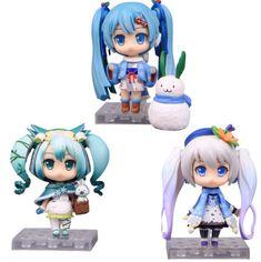Anime VOCALOID 3PCS Hatsune Miku Snow Miku Ver. PVC Action Figures Toy Gift Doll