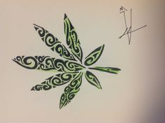 Tribal pot leaf $10