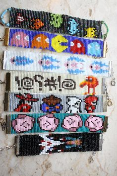 Classic Video Game pixel beaded bracelet- Choose made upon order space invaders pac-man Metroid qbert Kirby galaga Bead Loom Patterns, Bracelet Patterns, Beading Patterns, Cross Stitch Patterns, Seed Bead Crafts, Beaded Crafts, Stitch Games, Pixel Beads, 8bit Art