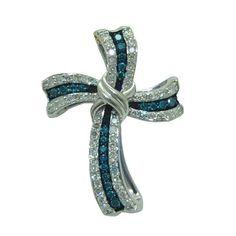 0.52 Cttw. Diamond Cross https://www.goldinart.com/shop/necklaces/diamond-necklaces/0-52-cttw-diamond-cross #14KaratWhiteGold, #DiamondCross