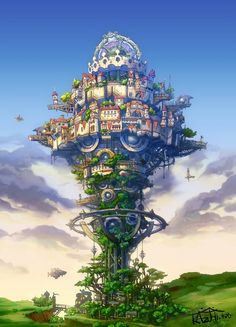Steampunk / fantasy tower city with airships coming to dock