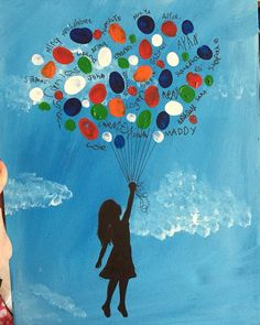 On to the next adventure. Thank you gift for student teacher. Balloon finger pri… On to the next adventure. Thank you gift for student teacher. Student Teacher Gifts, Teacher Thank You Cards, Teacher Appreciation Gifts, Thank You Gifts, Class Art Projects, Auction Projects, Painting For Kids, Art For Kids, Fingerprint Art