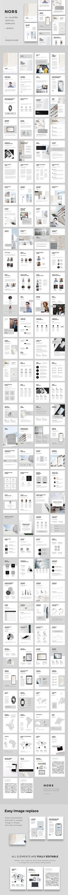 NORS Vertical Google Slide + GIFT by PixaSquare on @creativemarket  Clean, modern and minimal Vertical Google Slides Template in A4 & US Letter Printable Format. This layout gives you many possibilities of creativity. Perfect for Presentation, Magazine, Brochures, Portfolio Showcase and many more. You can edit everything very easy in your Google Slides Account.