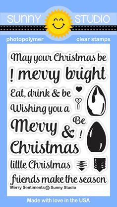 Merry Sentiments 3x4 Clear Stamps - Sunny Studio Stamps