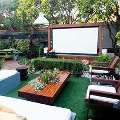 60 72 84 100 120 inch 16 9 Projection Screen Portable Collapsible Outdoor Projector Cloth Screen With Hanging Hole For Home And Outdoor Use Wish # Backyard Patio Designs, Backyard Landscaping, Patio Ideas, Landscaping Design, Modern Landscaping, Sloped Backyard, Desert Backyard, Cool Backyard Ideas, Modern Backyard Design