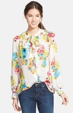 This bright, pretty feminine top would be great for rectangle body shapes. Pair with straight-leg or bootcut pants or flared skirt. KUT from the Kloth 'Spencer' Floral Print Top with Ties available at #Nordstrom. For more body shape and style tips, go to Styletruist.com!