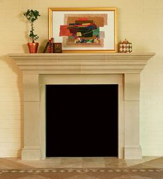 "Whitmoore Cast Stone Fireplace Mantel ~  The WHITMOORE fireplace mantel may be adapted to fit varying firebox widths and heights. Photo shows 42"" firebox opening. Optional overmantels are available."