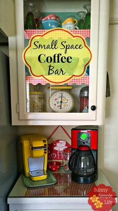 Small red and yellow coffee bar in a vintage kitchen. Coffee Bar Station, Tea Station, Home Coffee Stations, Coffee Bars In Kitchen, Coffee Bar Home, Coffee Corner, Coffee Time, Coffee Nook, Bar Drinks