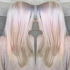 More natural Platinum with subtle licks of pastel pink and lavender. By Butterfly Loft stylist Caroline. Hair Color And Cut, Cool Hair Color, Hair Colors, Opal Hair, Pelo Natural, Platinum Hair, Hair Today, Hair Dos, Gorgeous Hair